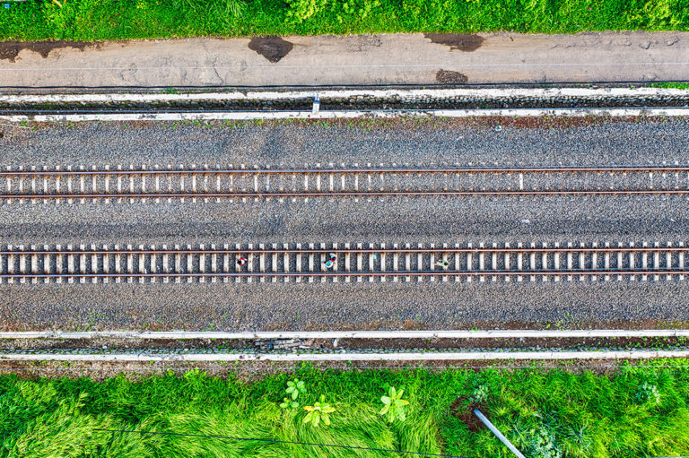 Aerial shot of a railroad by Tom Fisk of Pexels - Texas Railroad Commission to Use Drones