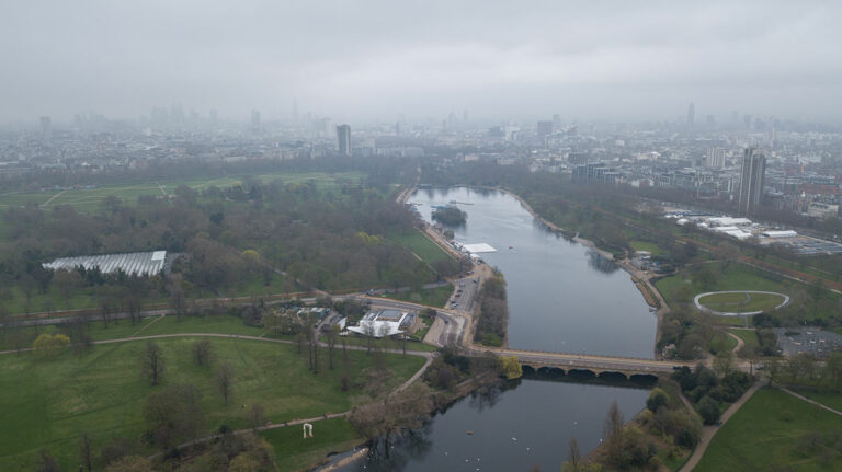 UK drone regulations: Aerial view of London Hyde Park UK United Kingdom drone top view