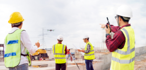 Drone flies over people at a construction site during a drone inspection