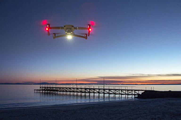 Drone flying at night