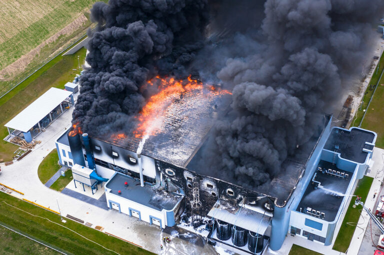 Project FIREDRONE: Black carbon smoke emitting from an industrial fire.