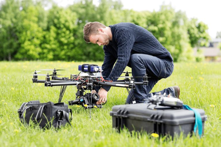 AUVSI TOP Program - drone pilot setting up for flight