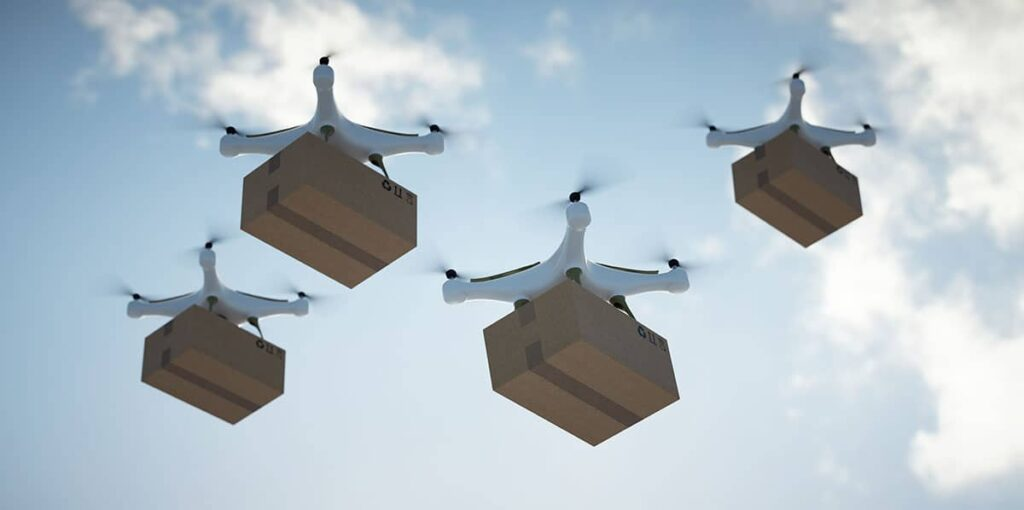 Drone delivery in swarms