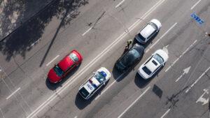 Drone over site of accident - crime scene investigation