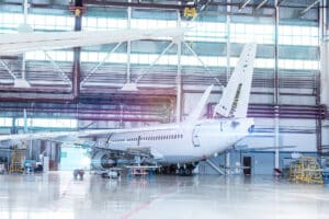 Plane in hangar - drone aircraft inspections